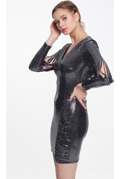 Reaction Exclusive 4258 Elbise Kolları Şerit Detaylı Fit Kadın