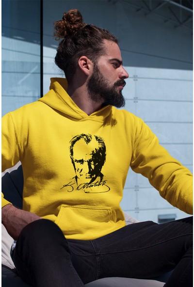 Angemiel Wear Atatürk Portresi Erkek Kapüşonlu Sweatshirt
