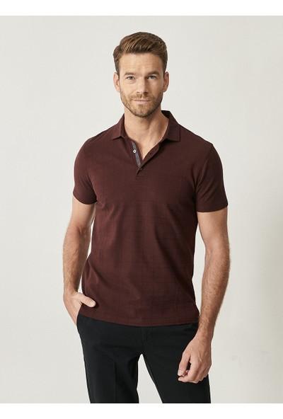Altınyıldız Classics Polo Yaka Cepsiz Slim Fit Dar Kesim Koton Jakarlı Tişört