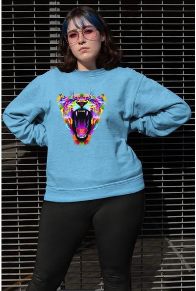 Angemiel Wear Ağzı Açık Kaplan Kadın Sweatshirt