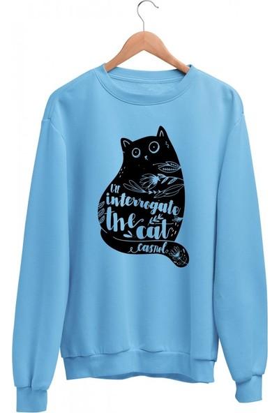 Angemiel Wear Çiçekli Kedi Kadın Sweatshirt