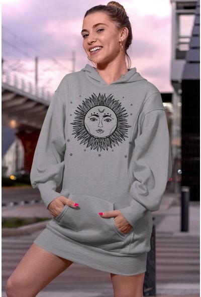 Angemiel Wear Ay Dövmeli Güneş Beyaz Elbise Sweatshirt Tunik