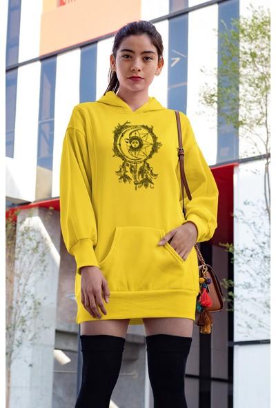 Angemiel Wear Kızıldereli Tarzı Ay Beyaz Elbise Sweatshirt Tunik
