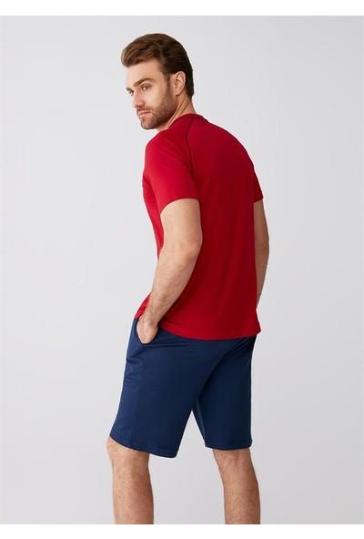 Dagi Kırmızı Düğmeli O Yaka Patlı Modal Kumaş Erkek 3'lü Takım