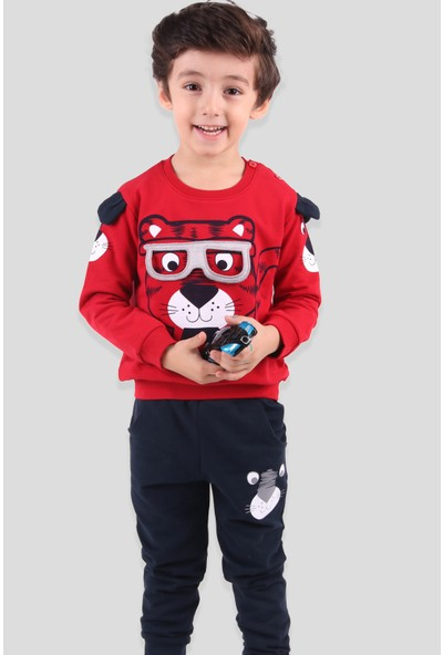 Breeze Erkek Çocuk Eşofman Takımı Gözlüklü Kırmızı (1-4 Yaş)