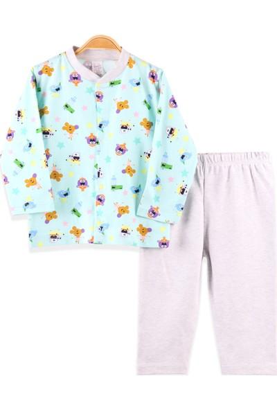 Breeze Kız Bebek Pijama Takımı Desenli Yeşil (3-9 Ay)