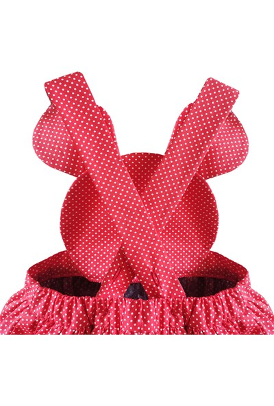 Shecco Babba Kız Çocuk Elbise Kırmızı Puantiyeli - Tütü Elbise Taç Takım 5-8 Yaş