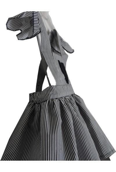 Shecco Babba Kız Çocuk Tütü Elbise Kalpli Siyah Beyaz 5-8 Yaş