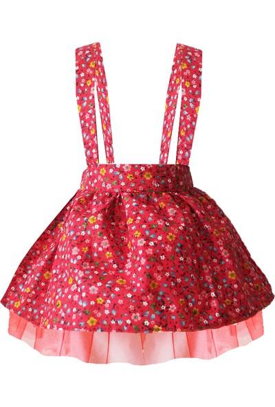 Shecco Babba Kız Çocuk Tütü Elbise Kırmızı Çiçekli 5-8 Yaş