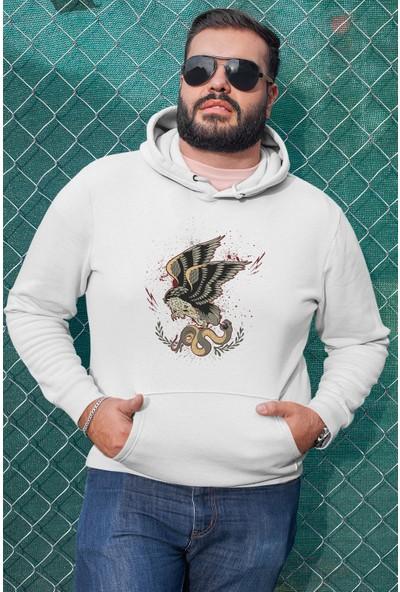 Angemiel Wear Yılana Saldıran Kartal Beyaz Erkek Kapüşonlu Sweatshirt