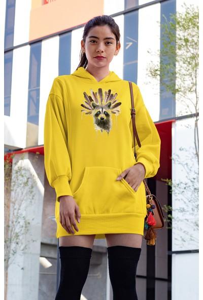 Angemiel Wear Tüyler Mavi Gözlü Rakun Sarı Elbise Sweatshirt Tunik