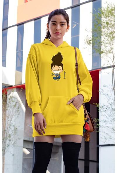 Angemiel Wear Oturup Gülen Yasuo Sarı Elbise Sweatshirt Tunik