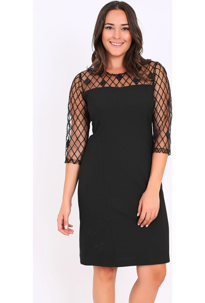 Ladies First Büyük Beden 2999 Siyah Kısa Abiye Elbise