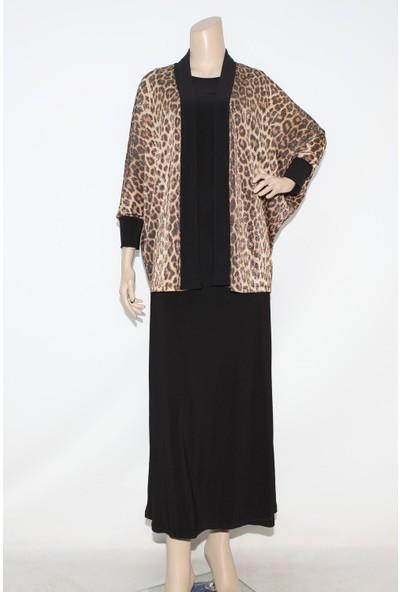Ladies First Büyük Beden 3196 Kahve Elbiseli Takım