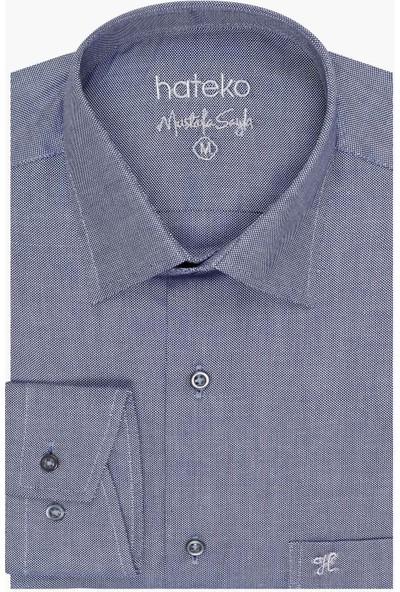 Hateko Açık Lacivert Klasik Kesim Pamuk Oxford Gömlek