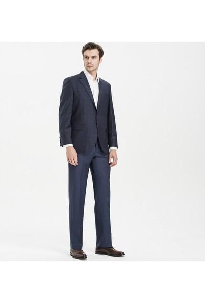 Hateko Klasik Kesim Filafil Desenli Lacivert %88 Yün Kumaş Pantolon