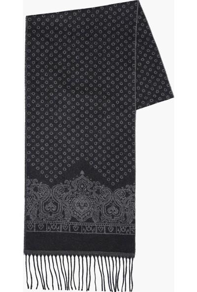 Hateko Şal Desen Siyah Fular