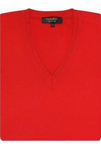 Hateko Kırmızı Klasik Kesim Yünlü Süveter