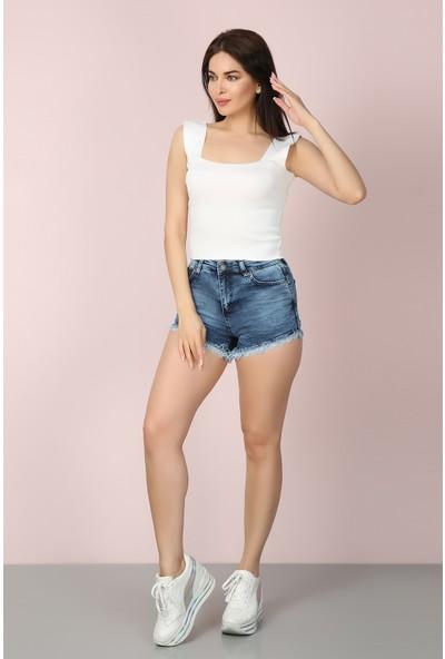Chichero Kadın Kot Mavi Paçaları Çiçekli Yüksek Bel Jean Şort