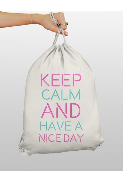 Angemiel Bag Keep Calm And Have A Nice Day Bez Sırt Çantası