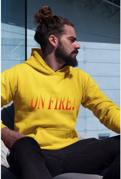 Angemiel Wear On Fire Sarı Erkek Kapüşonlu Sweatshirt