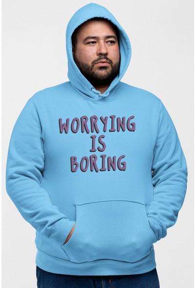 Angemiel Wear Worriying Is Boring Mavi Erkek Kapüşonlu Sweatshirt