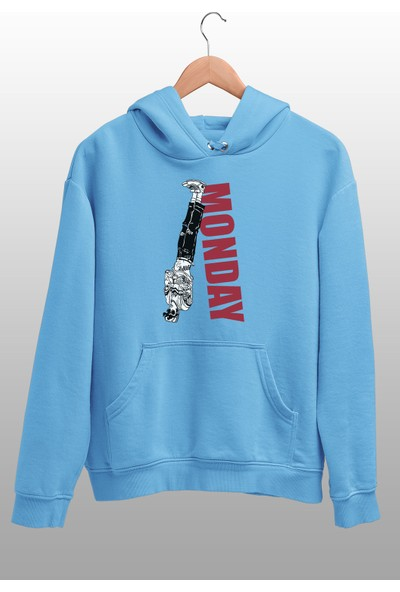 Angemiel Wear Reverse Monday Mavi Erkek Kapüşonlu Sweatshirt