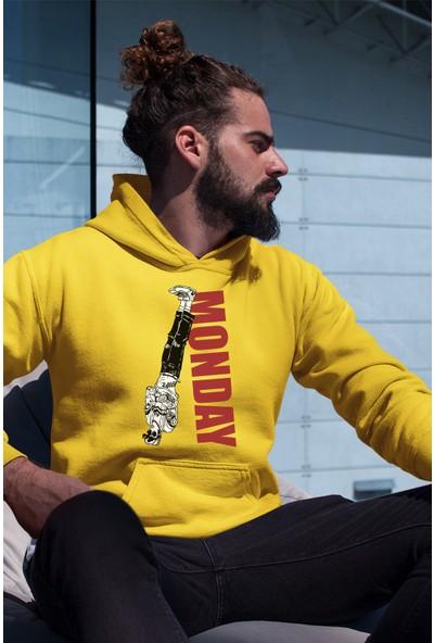 Angemiel Wear Reverse Monday Sarı Erkek Kapüşonlu Sweatshirt