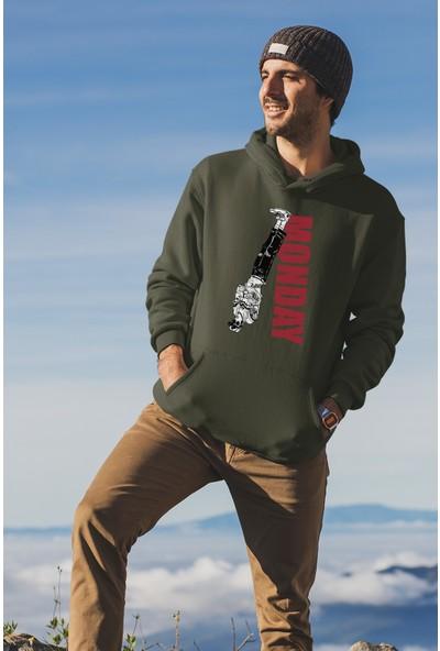 Angemiel Wear Reverse Monday Yeşil Erkek Kapüşonlu Sweatshirt
