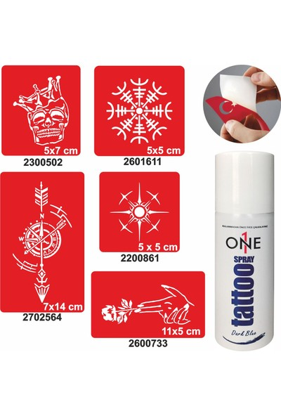 One Spray Tattoo One Spray Tattoo Kaşif Desenleri Sprey Dövme ve Şablon Seti Tattoo Dark Blue