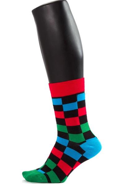 The Socks House Bambu Renkli Dama Desenli Çorap
