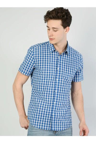 Colin's Dar Kesim Mavi Kısa Kollu Gömlek