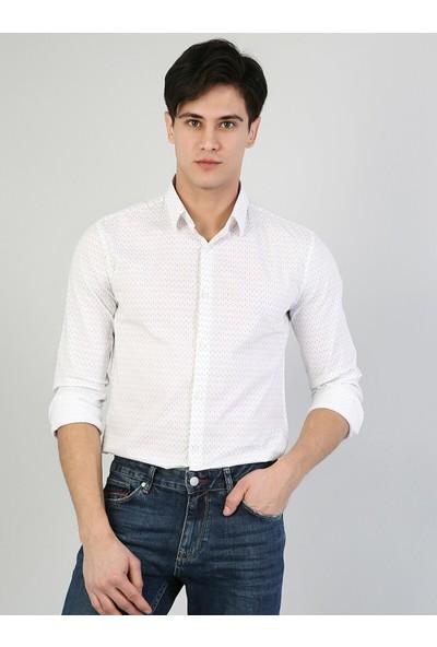 Colin's Dar Kesim Beyaz Uzun Kollu Gömlek