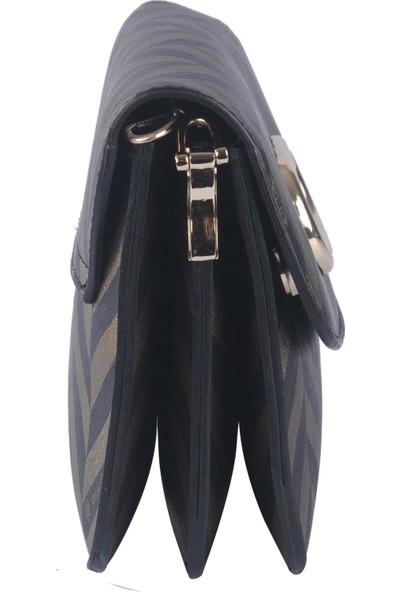 Newcarmen Kadın Çapraz Askılı Çanta Siyah Altın 180900005
