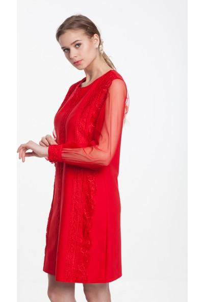 Reaction Exclusive Dantel Işleme Detaylı Kolları Tül Kadın Kırmızı Elbise 4196