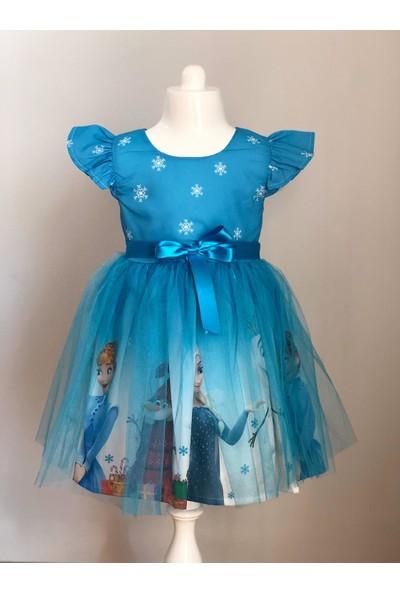 Pumpido Mavi Renk Elsa Karakterli Kız Çocuk Elbisesi