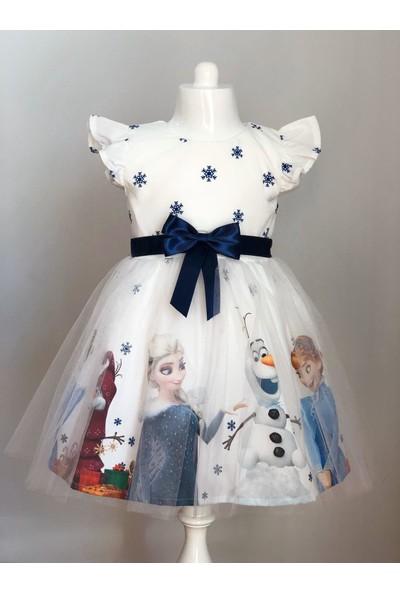 Pumpido Beyaz Renkli Elsa Karakterli Kız Çocuk Elbisesi