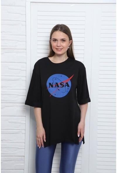 Latte Women Nasa Baskılı Siyah Yırtmaçlı Tişört