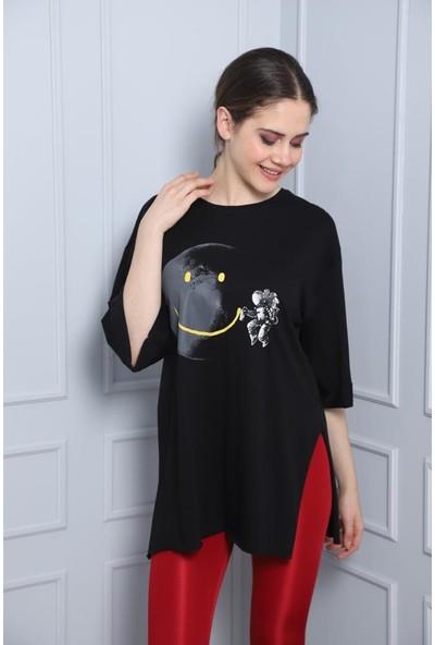 Latte Women Baskılı Siyah Yırtmaçlı Tişört