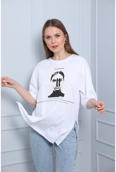 Latte Women Baskılı Beyaz Yırtmaçlı Tişört