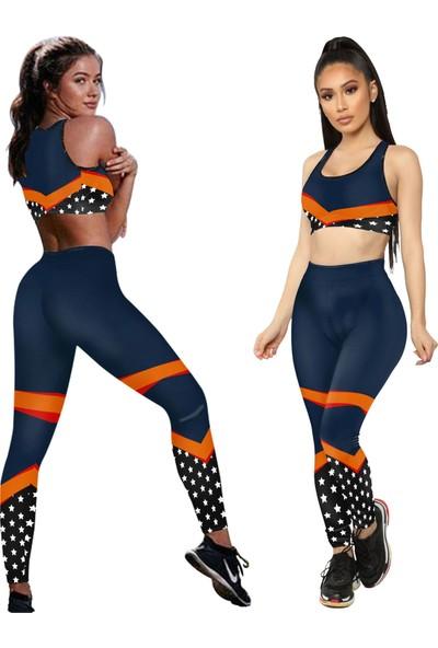 Clove Kadın Tayt Atlet Takım Lacivert S