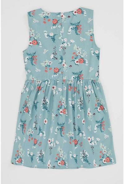 DeFacto Kız Çocuk Çiçek Baskılı Kolsuz Elbise