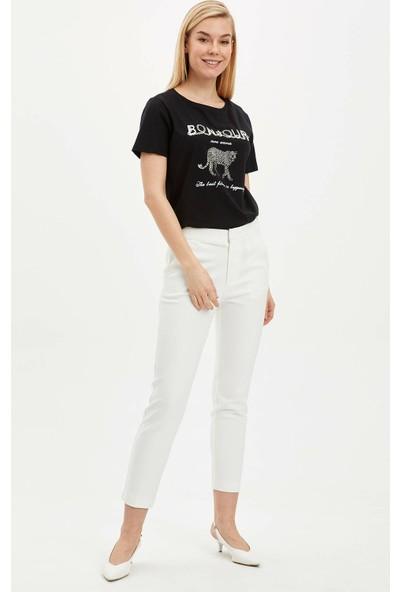 DeFacto Kadın Baskılı Kısa Kollu T-Shirt