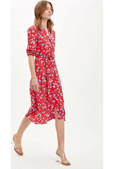 DeFacto Kadın Regular Fit Dokuma Elbise