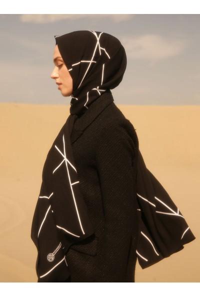Moda Kaşmir Asimetrik Çizgi Desenli Medine Ipeği Şal