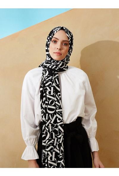 Moda Kaşmir Typo Desenli Medine Ipeği Şal