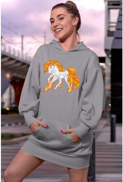 Angemiel Wear Pegasus Unicorn Gri Elbise Sweatshirt Tunik