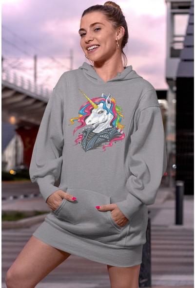 Angemiel Wear Cool Unicorn Gri Elbise Sweatshirt Tunik