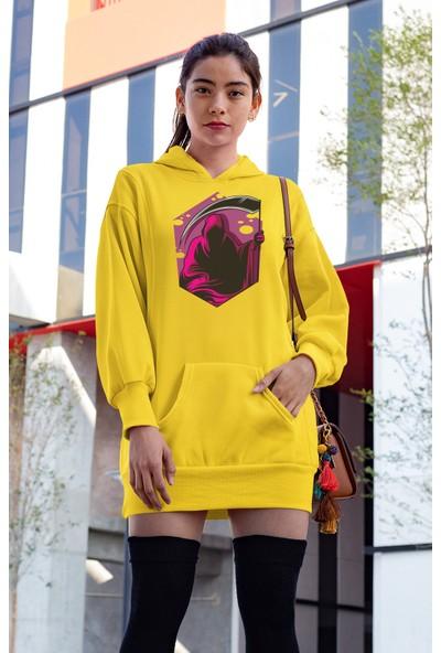 Angemiel Wear Mor Azrail Sarı Elbise Sweatshirt Tunik