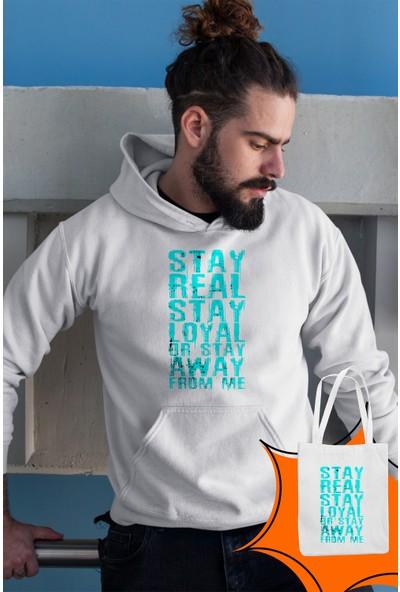 Angemiel Wear Stay Real Stay Loyal Beyaz Erkek Kapüşonlu Sweatshirt